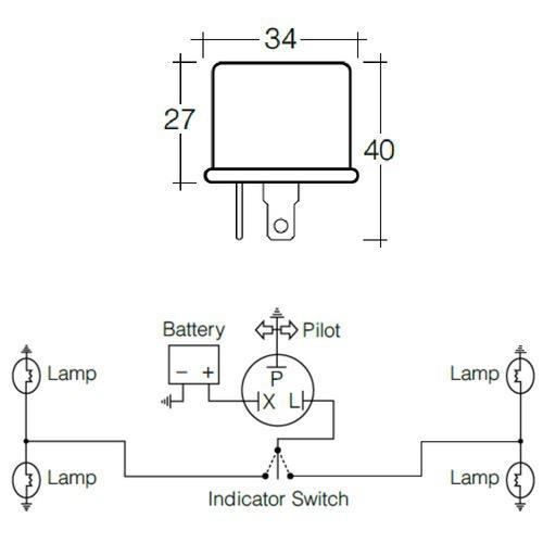 Narva 12 Volt 3 Pin Thermal Flasher - Max load: 6 x 32CP (24 watt globes)