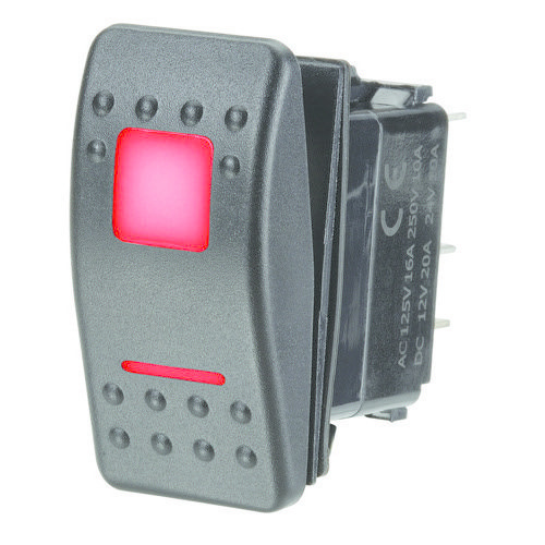 Narva 12/24V Off/On L.E.D Illuminated Sealed Rocker Switch - Red