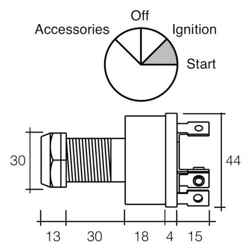 Narva 4 Position Ignition Switch (Marine) - 5A Ignition