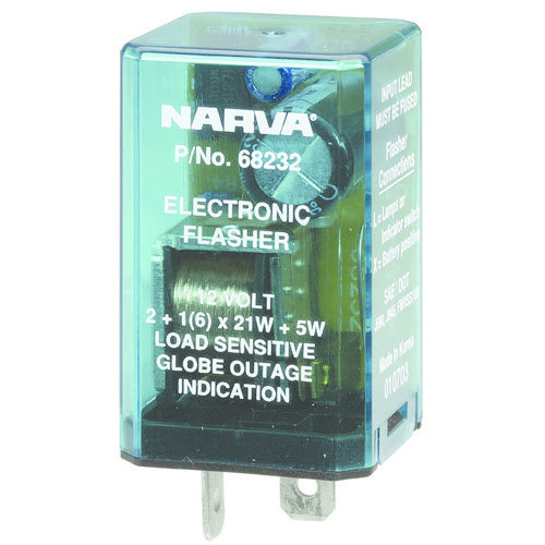 Narva 12 Volt 2 Pin Electronic Flasher - Max load: 6 x 21 watt globes plus additional 5 watts