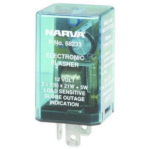 Narva 12 Volt 3 Pin Electronic Flasher - Max load: 6 x 21 watt globes plus additional 5 watts