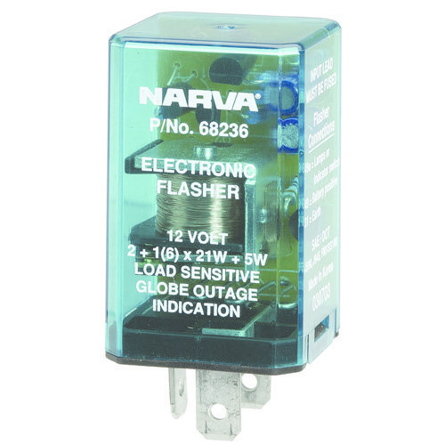 Narva 12 Volt 3 Pin Electronic Flasher - Max load: 6 x 21 watt globes plus additional 5 watts