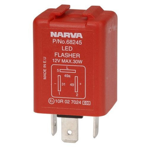 Narva 12 Volt 3 Pin Electronic L.E.D Flasher - Max of 2.5 amps per side (30 watts)