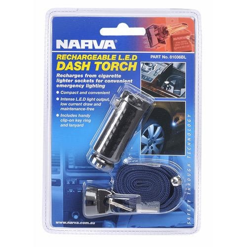 Narva 12V LED Rechargable Torch - Charges in Cigarette socket