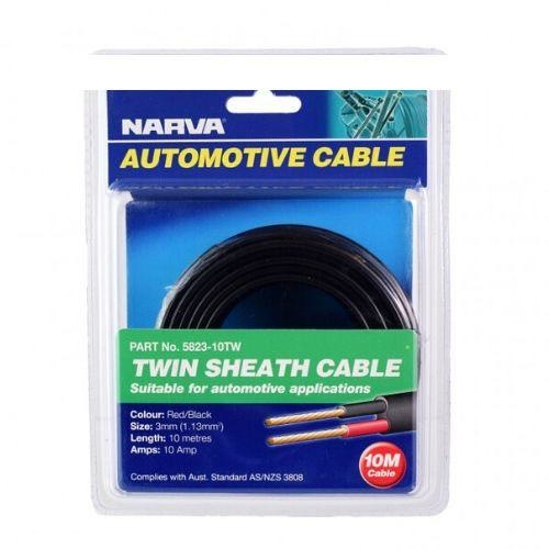 Narva 10A Twin Core Sheathed Cable - Dia: 3mm (Red & Black w/ Black Sheath)