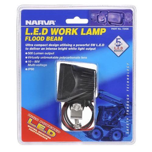 Narva 10-80V L.E.D Work Lamp Spread Beam/Flood Beam - 500 Lumens