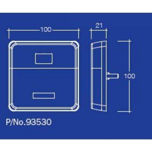 Narva 12V Model 35 L.E.D Slimline Rear Stop/Tail, Direction Indicator Lamps (Square) w/ In-Built Retro Reflector