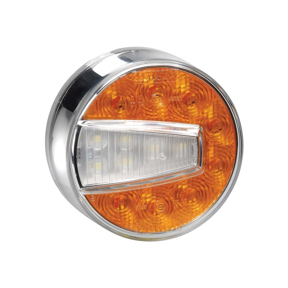Narva 12V Model 50 L.E.D Front Direction Indicator & Front Position Lamp (Amber/White) w/ 0.5m Hard-Wired Cable (RH) - Bulk Pack of 50