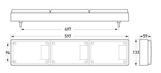 Hella Jumbo-S LED Triple Module Stop/Rear Position/Rear Direction Indicator/Reversing Lamp