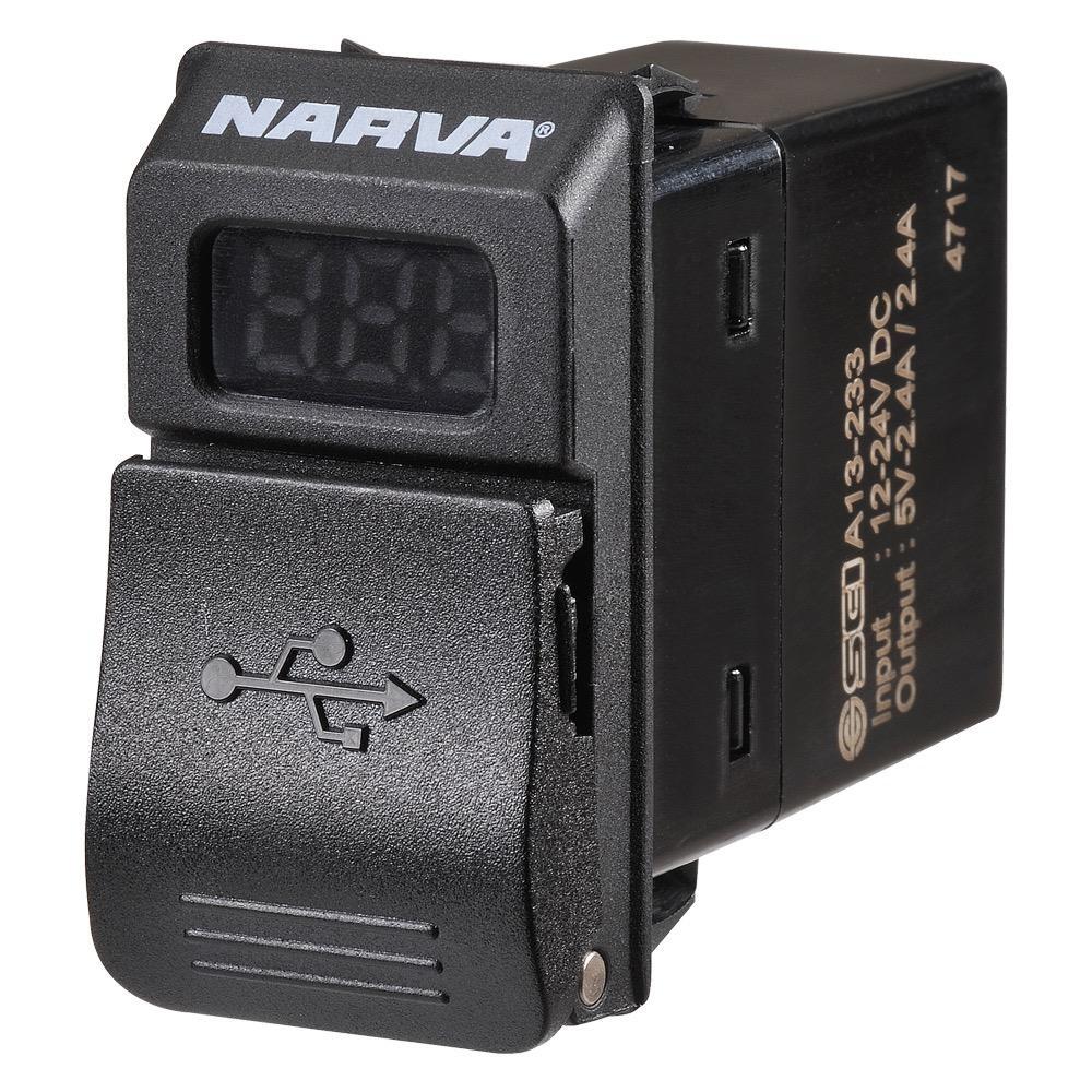 Narva 12/24V Dual USB Charger with L.E.D Volt/Amp Meter