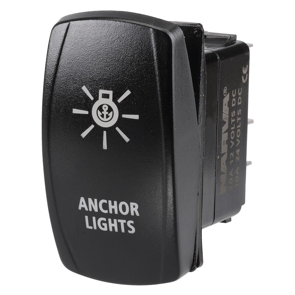 "Narva 12/24V Off/On L.E.D Illuminated Sealed Rocker Switch with ""Anchor Lights"" Symbol (Blue)"