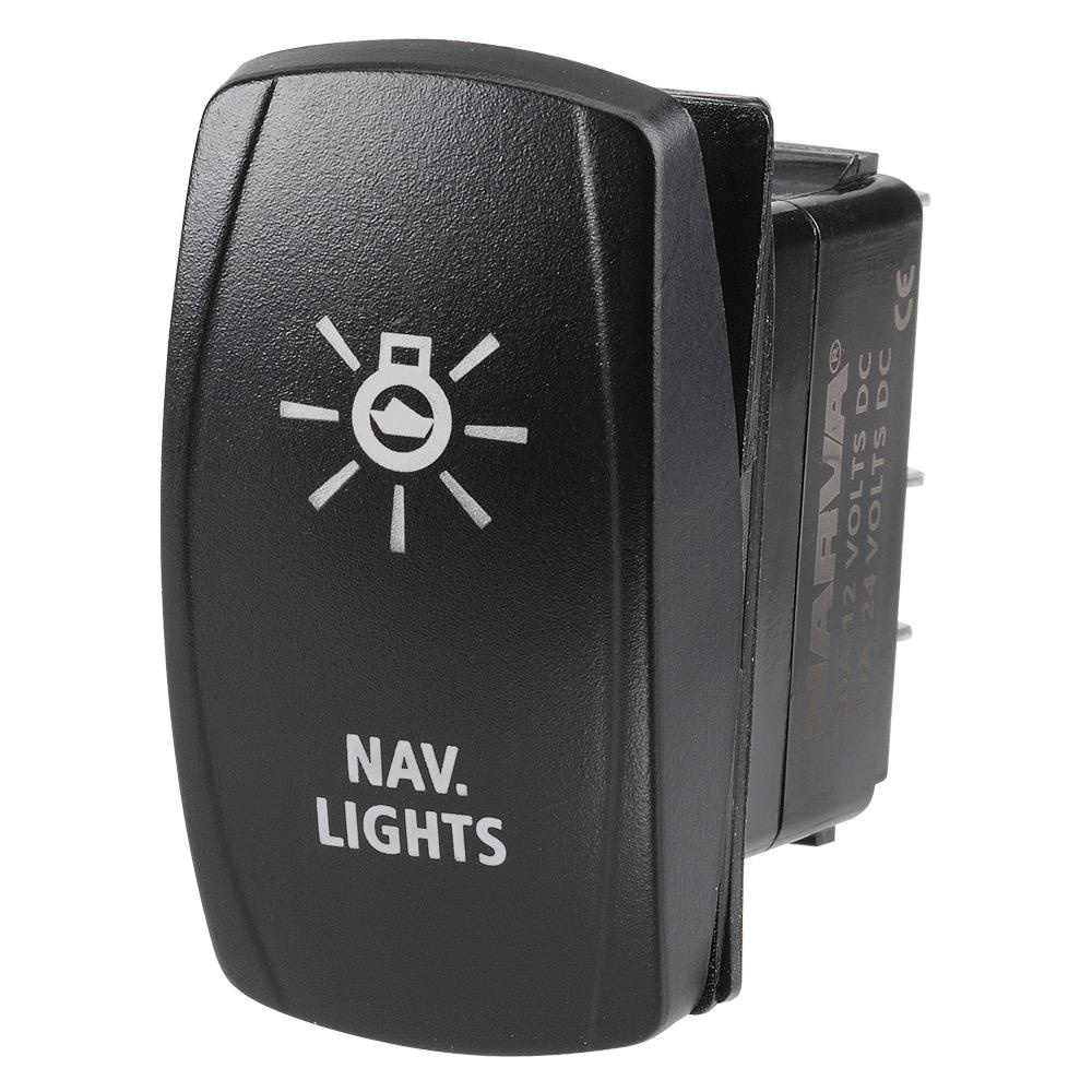 "Narva 12/24V Off/On L.E.D Illuminated Sealed Rocker Switch with ""Nav Lights"" Symbol (Blue)"