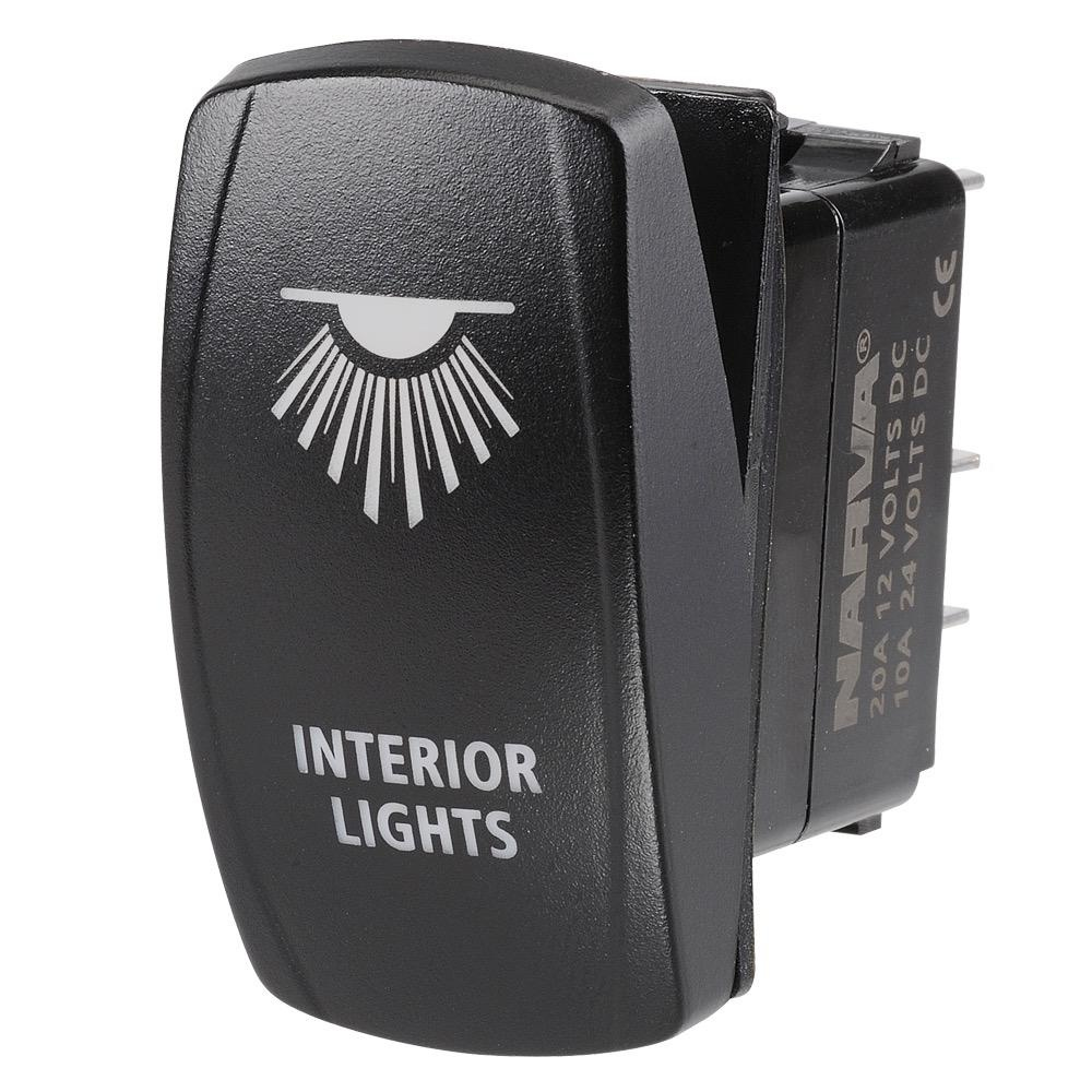 "Narva 12/24V Off/On L.E.D Illuminated Sealed Rocker Switch with ""Interior Lights"" Symbol (Blue)"
