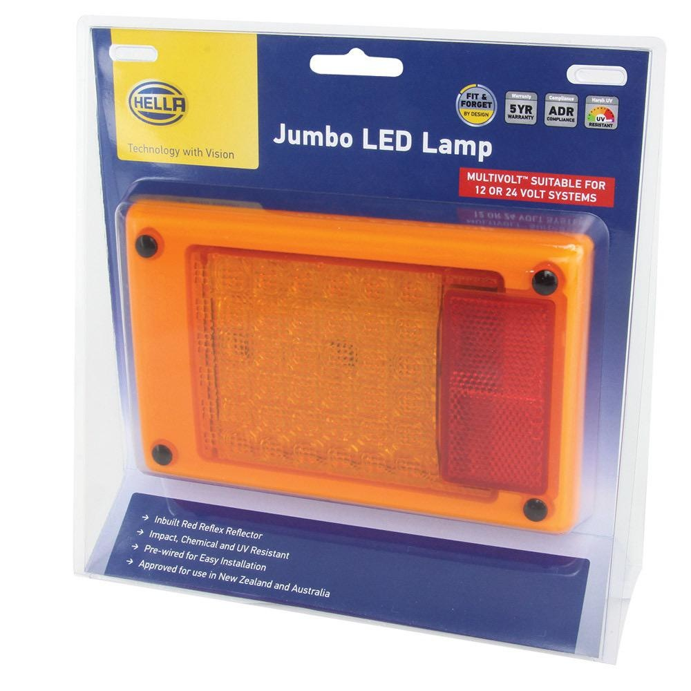 Hella Jumbo LED Module Rear Direction Indicator Lamp w/ Red Retro Reflector - Multivolt - Blister Pack