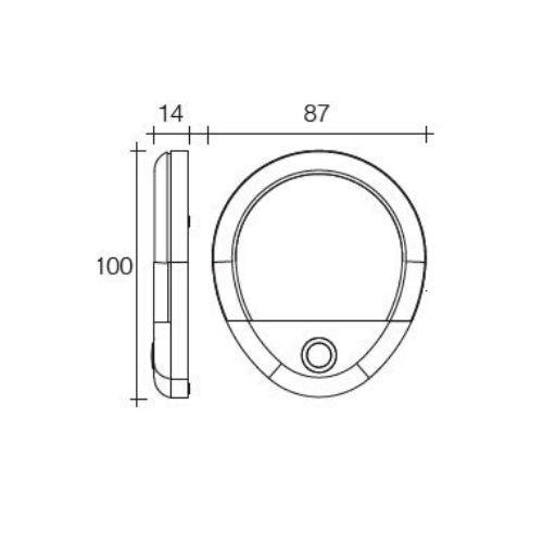Narva 10-30V L.E.D 2W Oval Interior Lamp w/ Touch Sensitive On/Dim/Off Switch