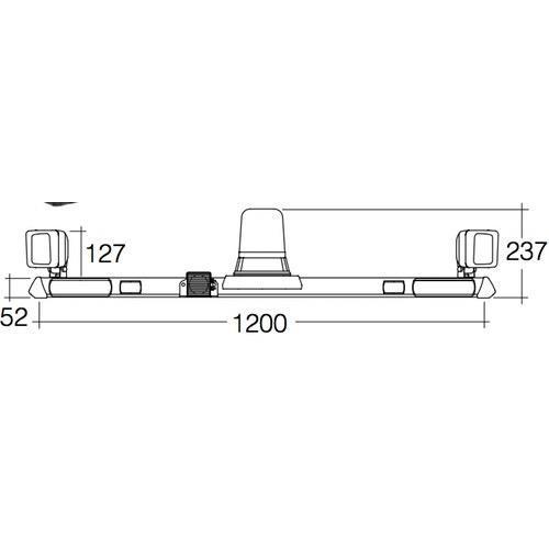 Narva 12V Halogen Rotating Utility Bar - 1.2m w/ L.E.D Work Lamps (Flood Beam - 2000 Lumen)