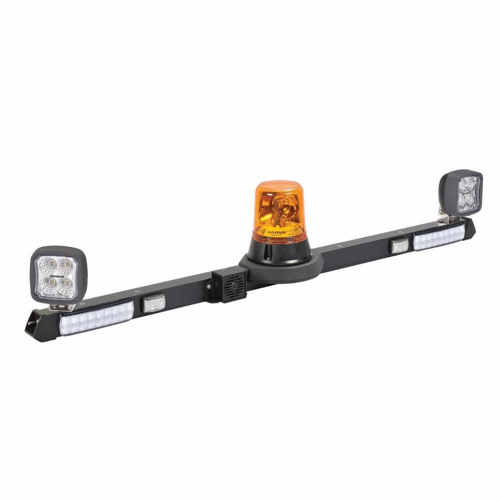 Narva 12V Halogen Rotating Utility Bar - 1.2m w/ L.E.D Work Lamps (Flood Beam - 2000 Lumen) w/o Reversing Alarm