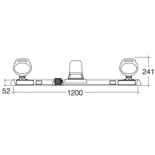 Narva 12V Halogen Rotating Utility Bar - 1.2m w/ 'Mini Senator' L.E.D Work Lamps