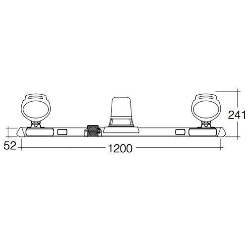Narva 12V Halogen Rotating Utility Bar - 1.2m w/ 'Mini Senator' L.E.D Work Lamps - w/o Reversing Alarm
