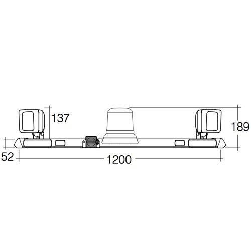 Narva 12/24V L.E.D Low Profile Rotating Strobe Utility Bar - 1.2m w/ Tall L.E.D Strobe & L.E.D Work Lamps - w/ Broadband Reversing Alarm