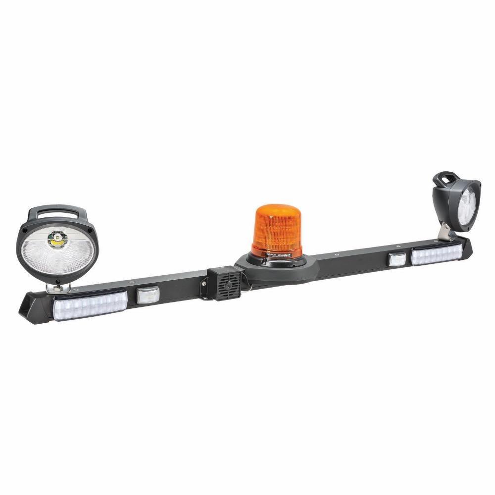 Narva 12/24V L.E.D Low Profile Rotating Strobe Utility Bar - 1.2m w/ Tall L.E.D Strobe & 'Mini Senator' L.E.D Work Lamps - w/ Broadband Reversing Alarm