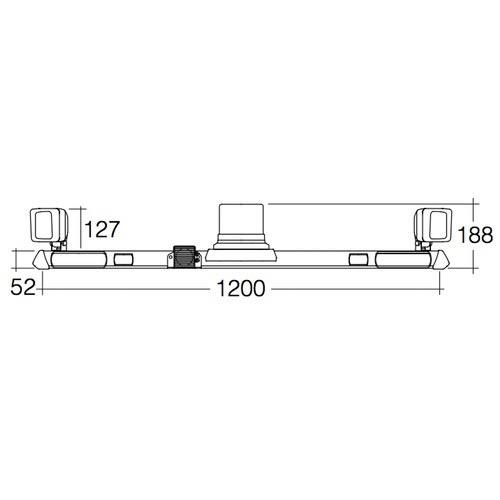 Narva 12/24V L.E.D Strobe Utility Bar - 1.2m w/ L.E.D Work Lamps (Flood Beam - 2000 Lumen) - w/ Broadband Reversing Alarm