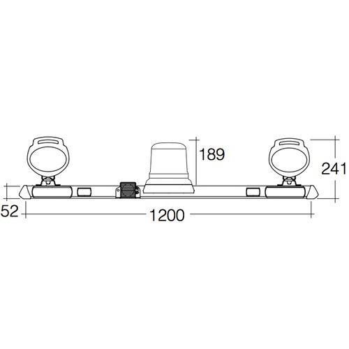 Narva 12/24V L.E.D Strobe Utility Bar - 1.2m w/ 'Mini Senator' L.E.D Work Lamps (Hybrid Lens - 2000 Lumen) - w/ Broadband Reversing Alarm