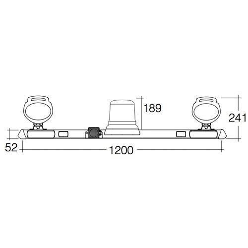 Narva 12/24V L.E.D Rotating Utility Bar - 1.2m w/ 'Mini Senator' L.E.D Work Lamps w/ In-built Handle & Switch (Hybrid Lens - 2000 Lumen)