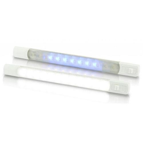Hella 12V DC LED Surface Strip Lamp White - Blue LEDs w/ Sealed Switch