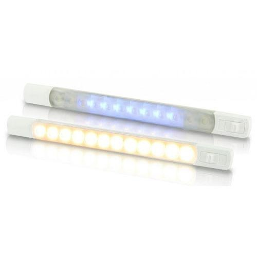 Hella 12V DC LED Surface Strip Lamp Warm White - Blue LEDs w/ Sealed Switch