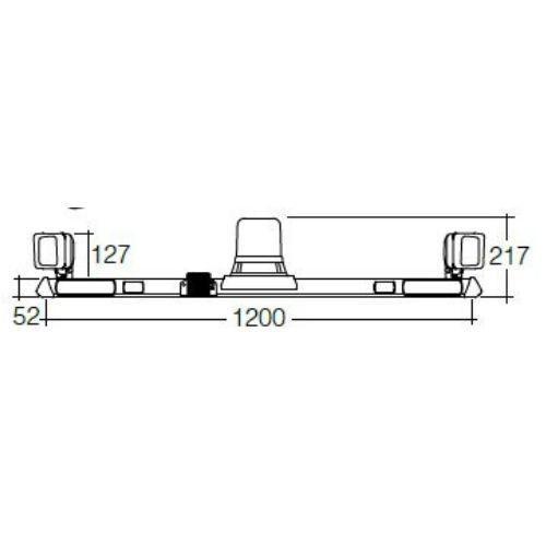 Narva 12/24V L.E.D Rotating Utility Bar - 1.2m w/ L.E.D Work Lamps (Flood Beam - 2000 Lumen) - w/ Broadband Reversing Alarm