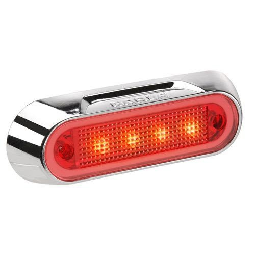 Narva 10-30V - Model 8 L.E.D Front End Outline Marker Lamp (Red) w/ Chrome Deflector Base (Blister Pack)