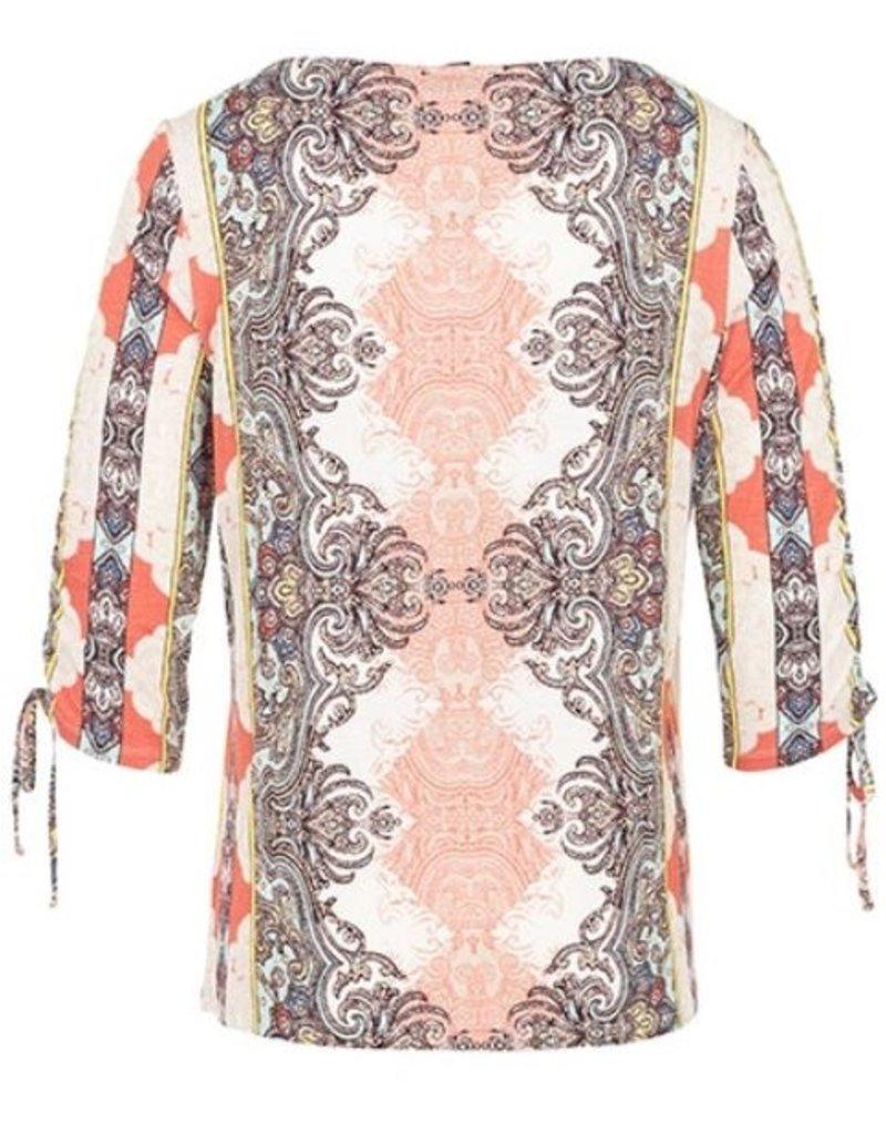 Tribal 3/4 Sleeve Top w Shirring - 91af