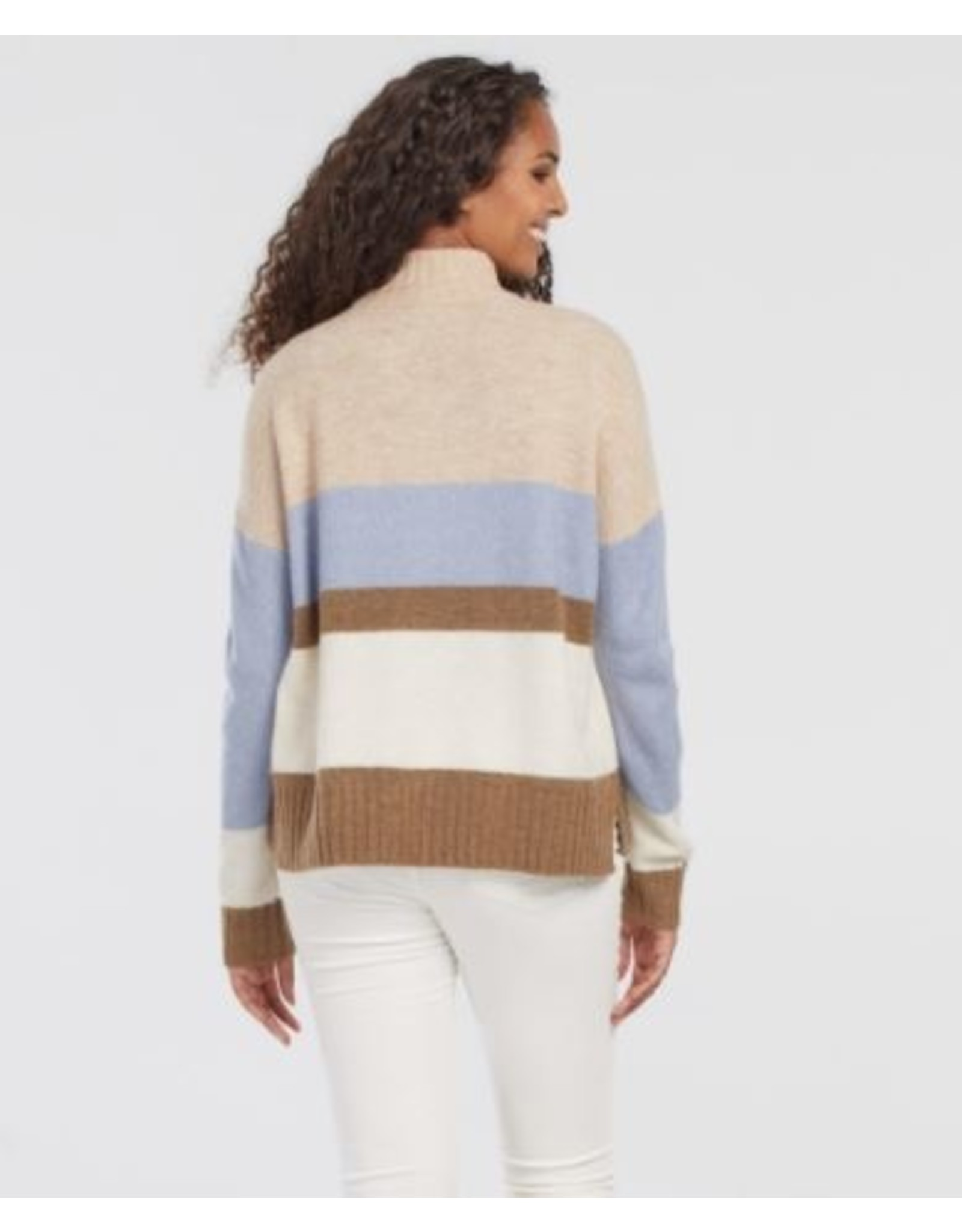 Tribal L/S Striped Mock Nk Sweater