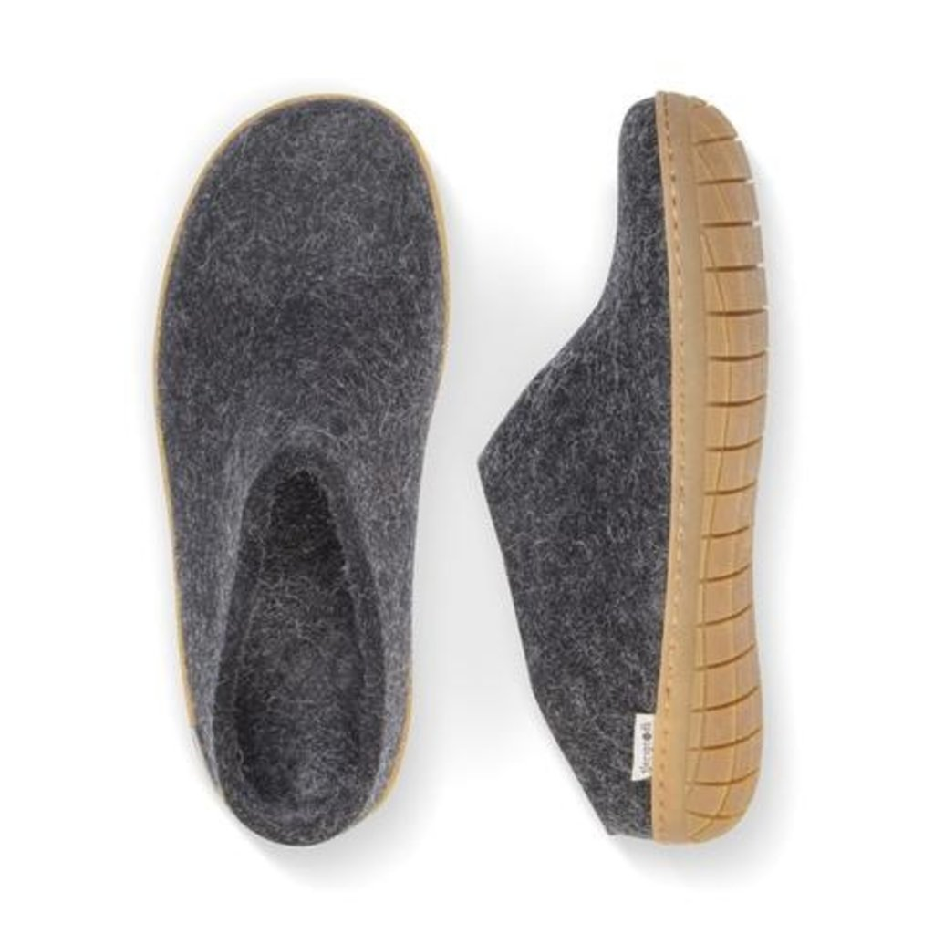 Glerups Glerup Wool Felt - Open Heel Slipper with Rubber Sole
