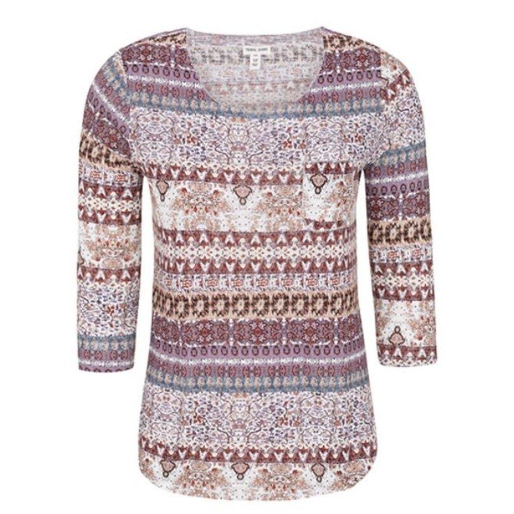 Tribal 3/4 Sleeve Top w Pocket