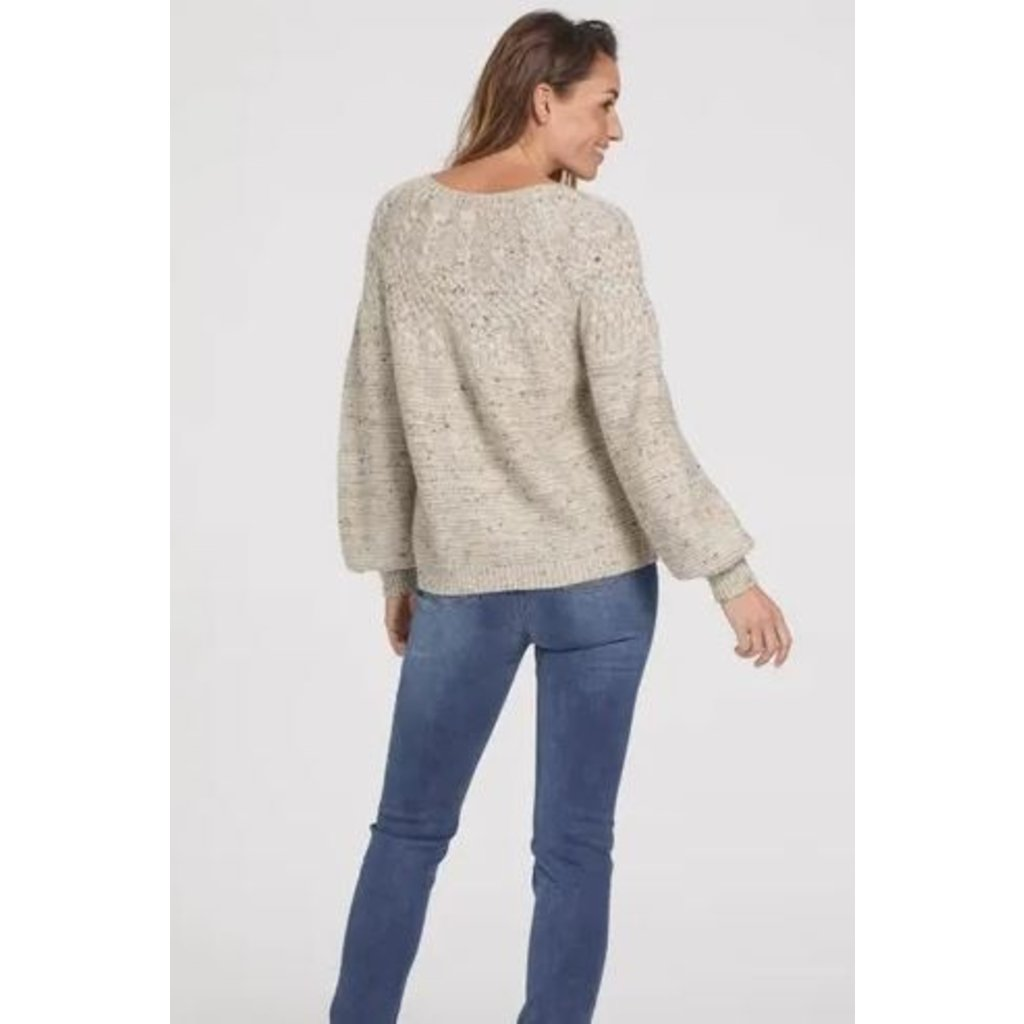 Tribal Crew Neck Cable Sweater