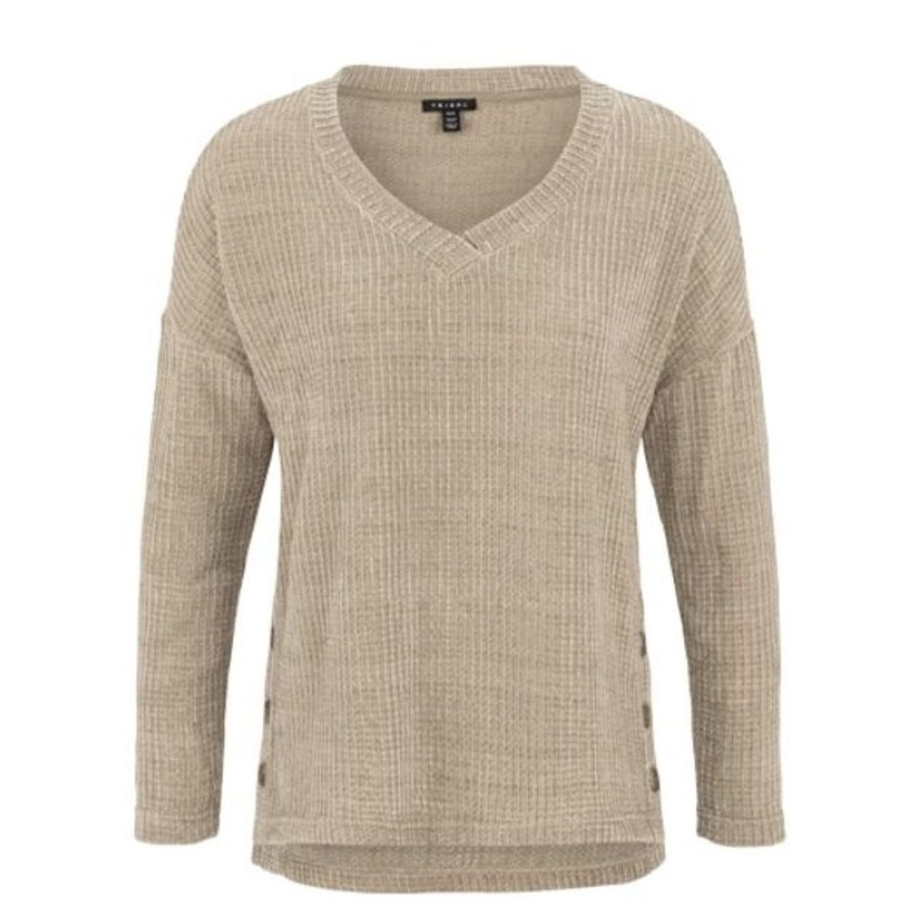 Tribal L/S V Neck Top W side buttons
