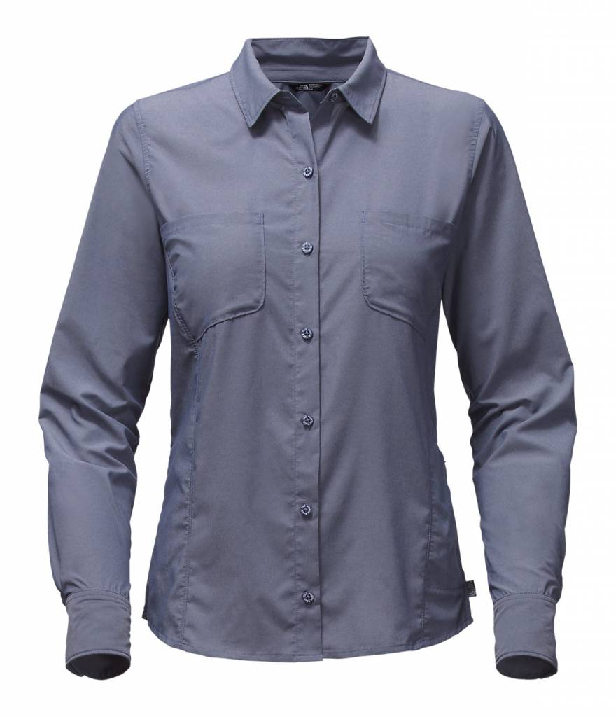 faf570092 Perfect for high-altitude treks across country lines, this women-specific,  long-sleeve button-down shirt is crafted of lightweight nylon-blend fabric  ...