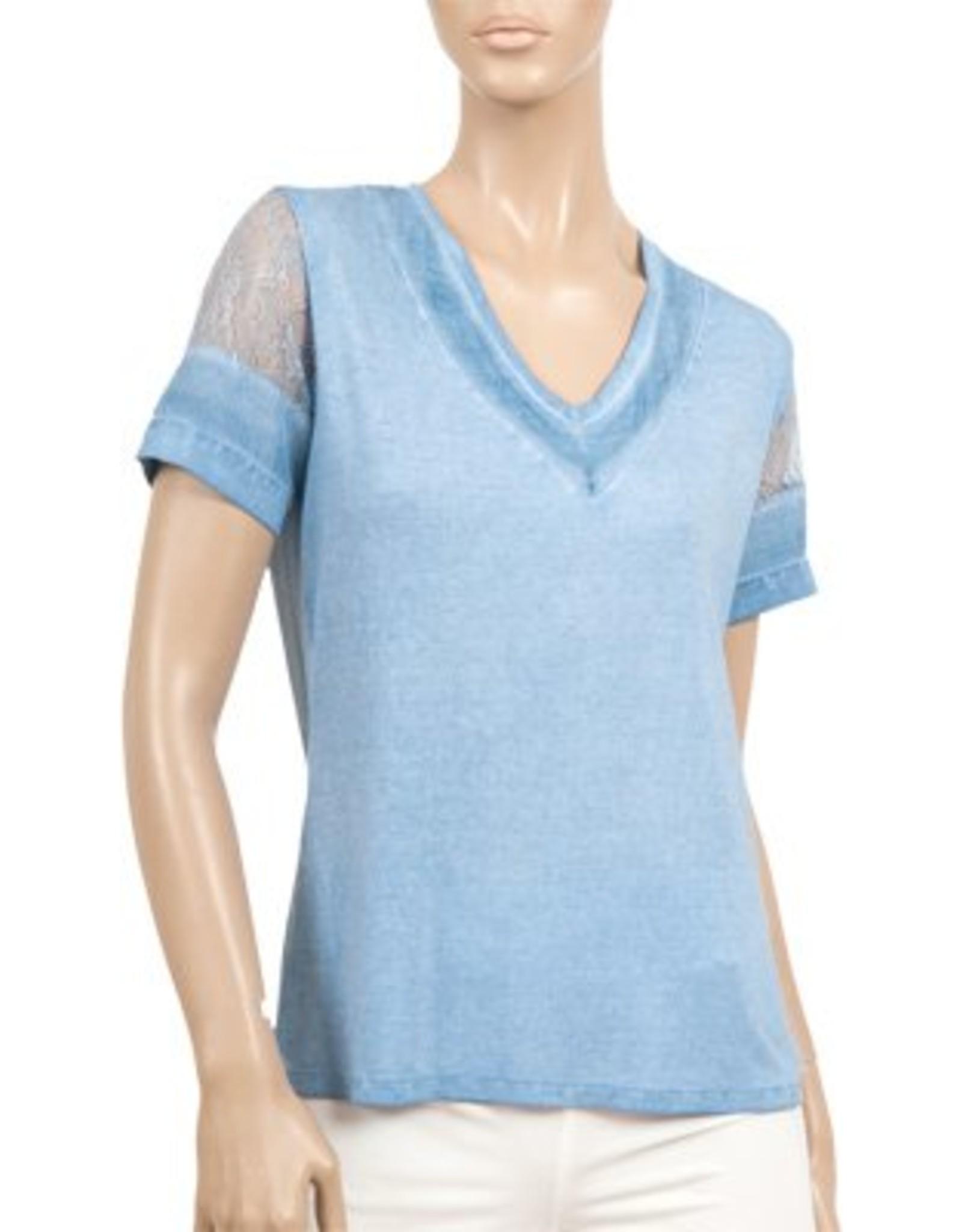 Women's V Neck Lace Cap Sleeve - SP18