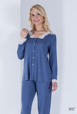 Annette Annette Maglia Long Sleeve Button Down Lace PJ Blue 1817