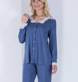 Annette Annette Maglia Long Sleeve Button Down Lace PJ Blue 1817