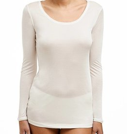 Love & Lustre Silk Jersey Long Sleeve Crew Neck Ivory LL922
