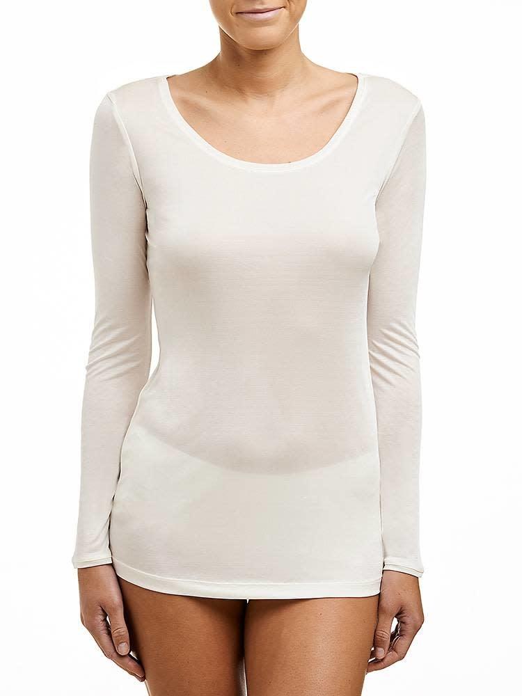 Love & Lustre Love & Lustre Silk Jersey Long Sleeve Crew Neck Ivory LL922