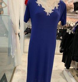 Annette Annette Canotta Maglia Short Sleeve Long Dress Royal/Panna 1425