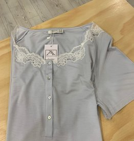 Annette Annette Maglia Short Sleeve Lace Front Opening Dress Cielo 1858
