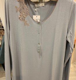 Annette Annette Camicia Maglia Long Sleeve Short Dress Cielo/Caramello 2043