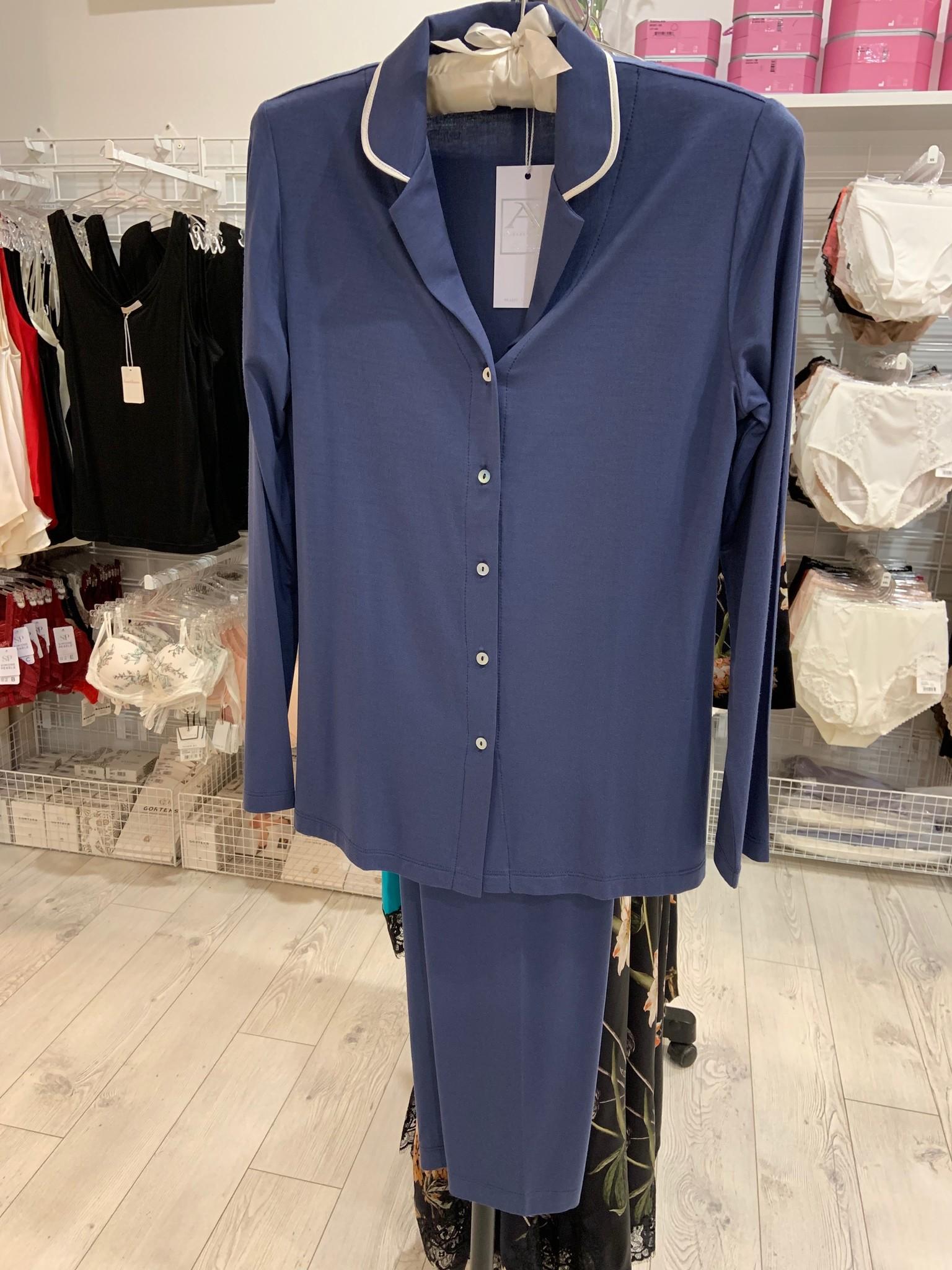Annette Annette Maglia Button Up PJ Blue 1881