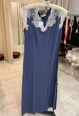 Annette Annette Maglia Cap Sleeve Long Dress Blue/Panna 1812