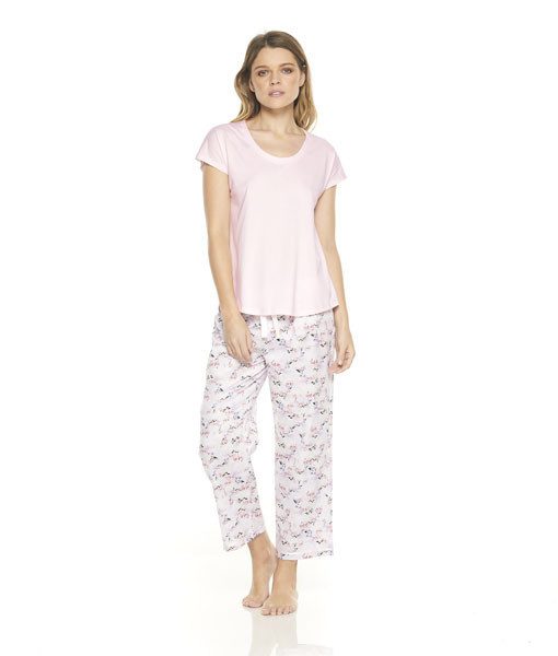Gingerlilly Donna Pink Floral PJ Set with 3/4 Pant
